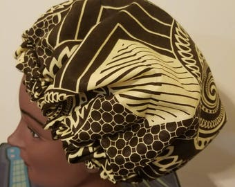 Adult Satin-lined Caps with African Print