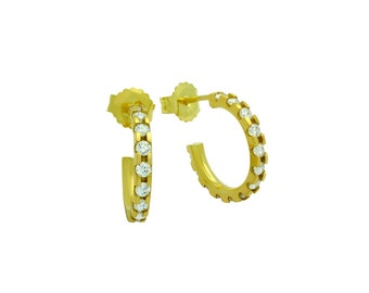 925 Sterling Silver 15 mm Gold Plated Small Eternity CZ Earrings