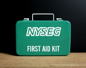 Vintage First Aid Kit - First Aid Box - Metal Storage Box - NYSEG - Medical Supplies - Wall Mount - Green - White - Industrial