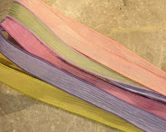 SPRING PASTEL Hand Dyed Silk Ribbons 5 Strings Assortment, Great Ribbons for Bracelet Wraps, Necklaces, Jewelry or Crafts
