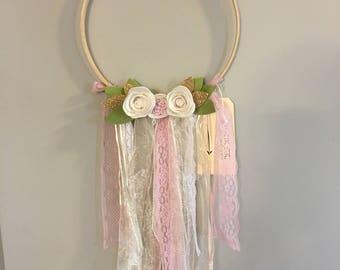 Modern Dreamcatcher, felt flowers, blush, pink, cream, gold, nursery, home decor