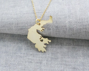 Greece Necklace Gold,Greece Charm Necklace,Greece Pendant Necklace,Greece Shaped Jewelry with Heart,Personalized Any Country Necklace