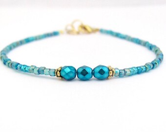 Turquoise Bracelet, Minimal Modern Dainty Friendship Bracelet, Stack Layer Ocean Blue Summer Spring Jewelry, Mothers Day Gift for Her