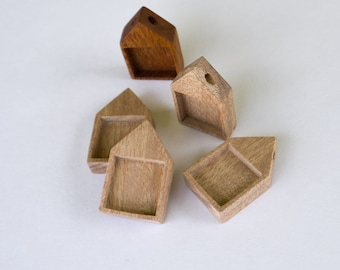 Unfinished Neat pendant blanks - Natural Mahogany Wood - 19 mm - (H419-M) - Set of 4