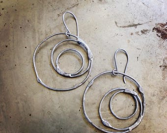 Rustic Circles Mismatched Earrings