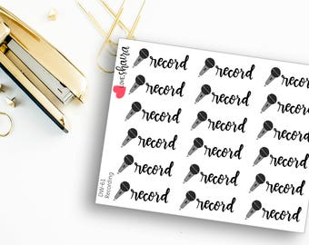 Record | Voiceover Sticker, Podcast, Song Recording, Microphone Sticker, Voice Recording - Hand Drawn and Hand Lettered Planner Stickers