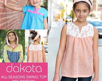 Dakota Swing Top PDF Downloadable Pattern by MODKID... sizes 2T to 12 Girls included - Instant Download