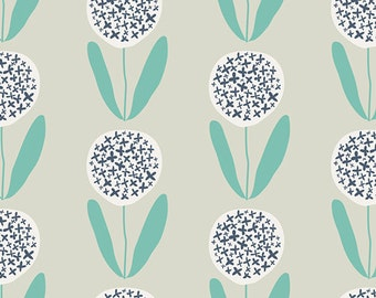 Candied Lollies Mint Fabric - Curiosities by Jeni Baker - Art Gallery. Navy & Aqua Flowers. 100% cotton. CUR-29139