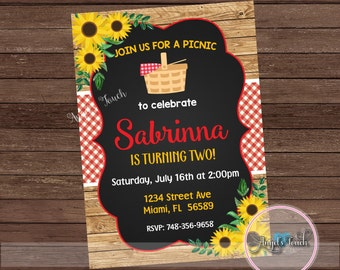 Picnic Birthday Party Invitation, Picnic Party Invitation Sunflowers, BBQ Party Invitation Sunflowers, Wood Picnic Invitation, Digital File