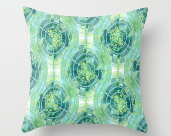 Geometric Pillow Cover Abstract Teal Blue Green Yellow White Modern Home Decor Living room bedroom accessories Cushion Euro Sham Cover