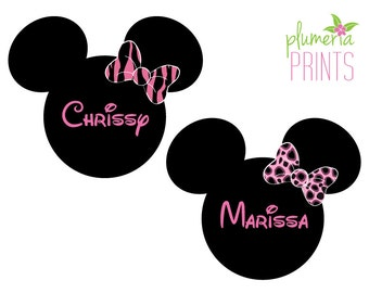 Zebra or Cheetah Side Bow Mouse Head Magnet for Disney Cruise