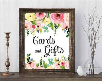 Cards and Gifts Sign, Floral Wedding Sign Template, Printable Wedding Signs, Gift Table Sign, PDF file Instant Download /MARTHA