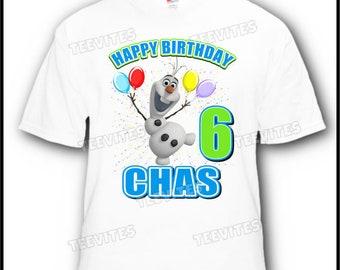 Personalized Disney Frozen Olaf Happy Birthday Boy T-Shirt