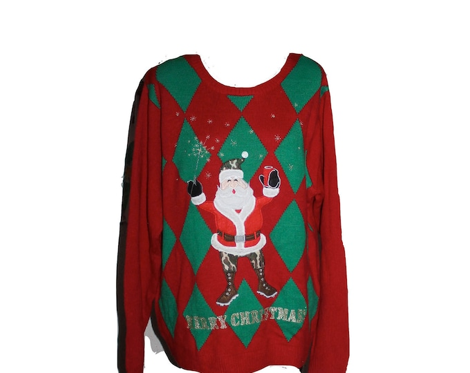 Merry Christmas Beer Drinking Santa with Camo Stockings Argyle Holiday Sweater