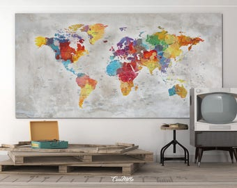 Push Pin World Map, Extra Large World Map, Canvas Print, Push Pin Travel Map, Rustic World Map, Wall Hanging, Wanderlust, Travel Love-858