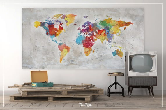 Push pin world map extra large world map canvas print push push pin world map extra large world map canvas print push pin travel map rustic world map wall hanging wanderlust travel love 858 gumiabroncs Images