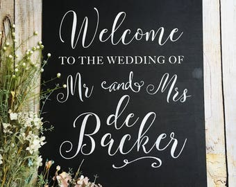 Wedding chalk board, wedding welcome sign, wedding sign, wedding blackboard, hand painted sign, mr and mrs sign, rustic wedding, chalk sign