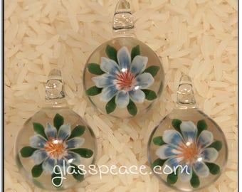 Blue Glass Flower Pendant - Boro Lampwork Glass Jewelry