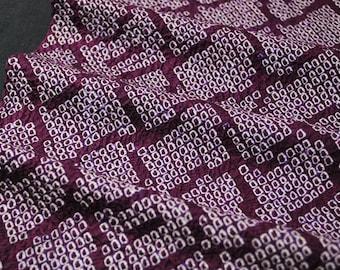 "12.9""w. x 40.5""l. Vintage kimono silk fabric shibori purple and white abstract motifs 3036A"