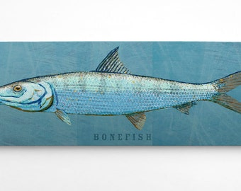 Husband Gift, Fish Gifts for Him, Bonefish Art Block, Saltwater Fish Art, for Beach House Art, Unique Gift Ideas, Home Gifts, for Dad Gifts