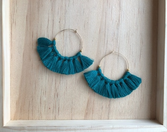 Hoop earrings Gypsy tassels Golden Peacock blue