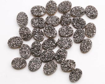 Platinum Druzy, Druzy Cabochon, 6x8mm Oval Druzy, Cabochon Druzy Stone Jewelry Making Supply GemMartUSA (MZ-80047)
