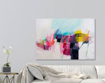 Abstract painting on Canvas, Large acrylic painting, Modern wall art, Large wall art, Large Canvas Painting Original, Pink Aqua, Duealberi