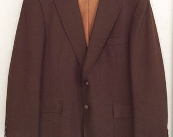 Vintage Men's Botany 500 Suit Jacket Size 40R Brown Polyester Blazer Sport Coat