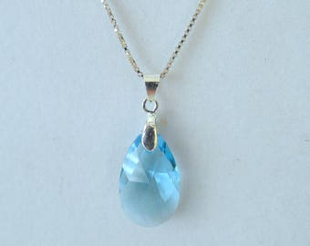 Aquamarine Swarovski Pendant Necklace