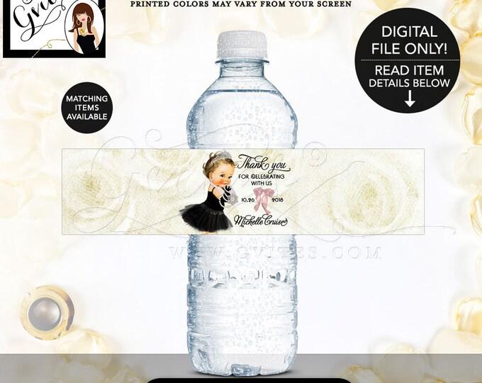 "Water Bottle Labels, Breakfast at Themed, Audrey Hepburn Baby Girl, diamonds pearls princess girl tiara, Pink {8x2""/5 Per Sheet} Gvites"