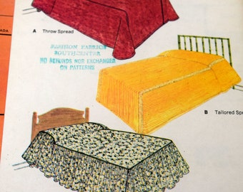 McCalls 8686 Basic Bed Covers, Bedspread Sewing Pattern, Uncut and Factory Folded, 1960s Home Decor Pattern, Dust Ruffles and Pillow Sham
