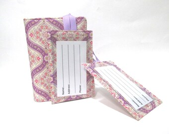 Handmade Passport cover and two matching luggage tags - Delicate floral in lilac - Ready to ship - Travel gift ideas for her - birthday gift