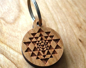 Sri Yantra Keychain - Precision Laser Cut Sacred Geometry Quality Hand Finished Natural Wood