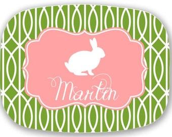 Personalized Melamine Platter-monogram Easter Bunny tray