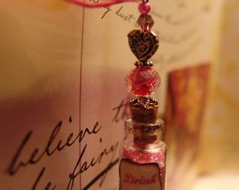Drink Me Necklace, Alice in Wonderland Necklace, Pink Drink Me Glass Vial Necklace