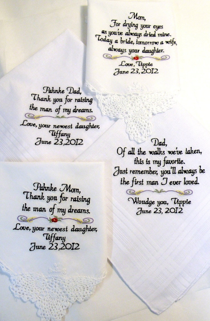 Set of 4 Wedding Gifts Handkerchiefs Mother or Father of the Bride ...