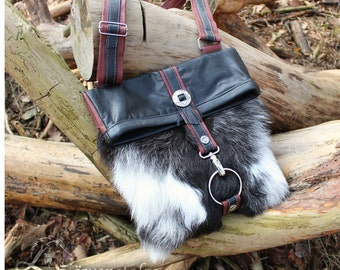 Leather Messenger bag with goatskin - Upcycling