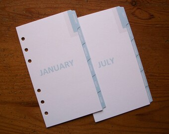 PERSONAL Size Monthly Planner DIVIDERS - 'Baby Blue' #780 - Fits Filofax - 12 tabs