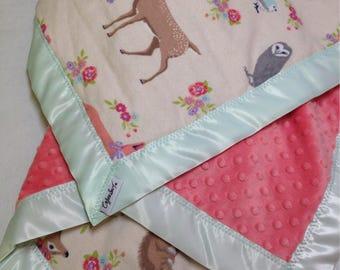 Woodland baby blanket, receiving blanket, swaddler, flannel baby blanket, deer baby, security blanket, coral, mint baby, minky blanket