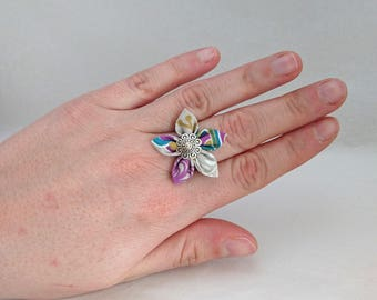 Original pie adjustable flower ring / blue / mustard / grey