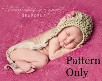 Newborn Crochet Pattern, Baby Crochet Pattern, Newborn Baby Bonnet Pattern, Crochet Baby Hat Pattern, Crochet Pattern, Baby Bonnet Pattern