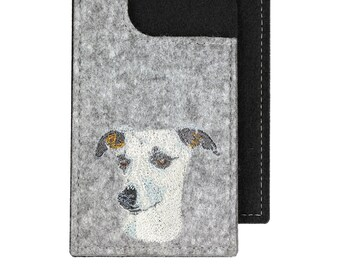 Whippet - A felt phone case with an embroidered image of a dog.
