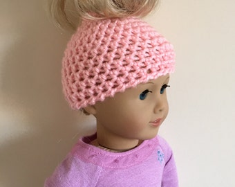 """Pink messy bun hat  - suitable for 18"""" dolls. 18 inch doll, 18"""" doll, doll hat (will fit American girl, Gotz precious day)"""