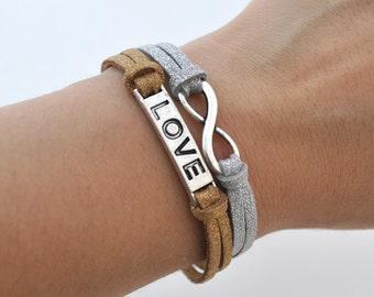 Infinite love bracelet, silver charm bracelet, suede bracelet, silver bronze cord, infinity Jewelry, everlasting love, enternity, sparkle