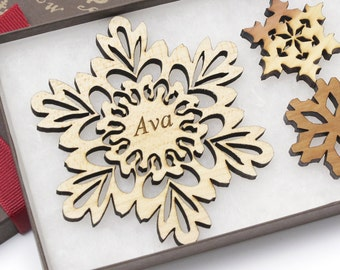 Personalized Ornament - Christmas Snowflake Gift Box Set - Custom Engraved Wood Snowflake - Maple - Made in the U.S.A. Ava