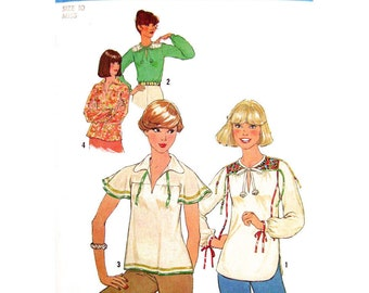 1970s Hippie Tops Pattern Simplicity 8079 Flared or Long Sleeve Pullover Top Womens Size 10 Vintage Sewing Pattern