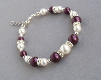 Plum Pearl Bracelet - Eggplant Bridesmaids Jewelry - Crystal Bridal Party Gifts - Aubergine  and White Attendant Gifts - Purple Wedding