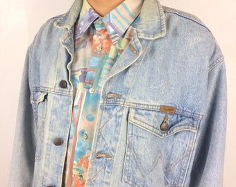 Vintage Wrangler Jean Jacket - Light Blue Denim Coat - Stonewash 90s Grunge Denim Jacket - Size Large - 90's Made in UK UNISEX Trucker