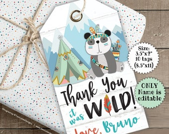 Wild One First Birthday Tags - Tribal Animals Favor Tags - Thank You Tags - Printable - Instant Download