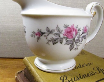 Kyoto China - Roxanne - Creamer - Pink Roses - Gray Leaves - Gold Accent - Made in Japan